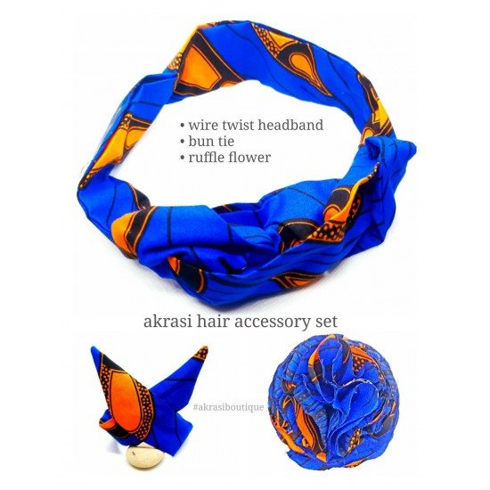 African print blue and orange hair accessory set includes wire hair tie, wire bun tie and flower brooch   hair clip