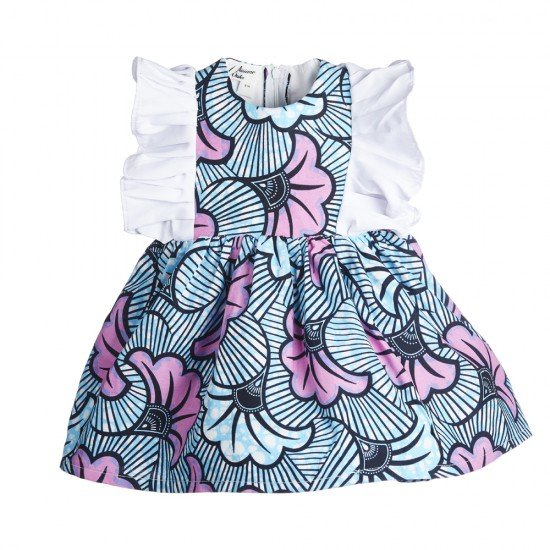 Wedding flower - Blue and pink dress with white ruffles.